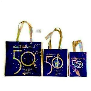 🌠✨WDW 50th Celebration Set of 3 Reusable Totes-Large,Medium & Small + Gift Card